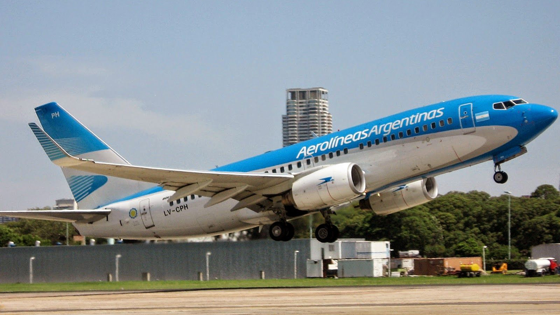Uno de los aviones de Aerolíneas Argentinas