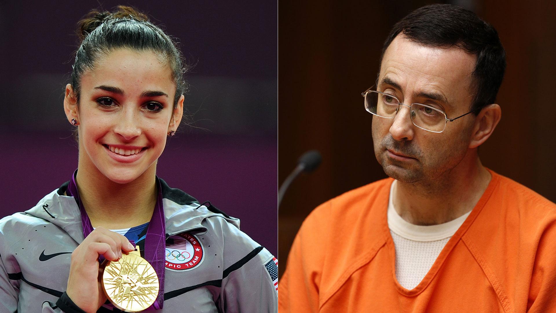 Aly Raisman (izquierda) Larry Nassar (derecha) (Getty-AFP)