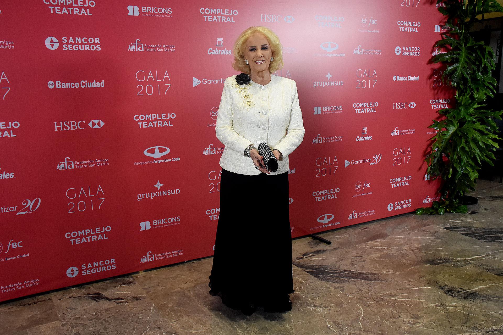 Mirtha Legrand en la gala benéfica de la Fundación Amigos del Teatro San Martín