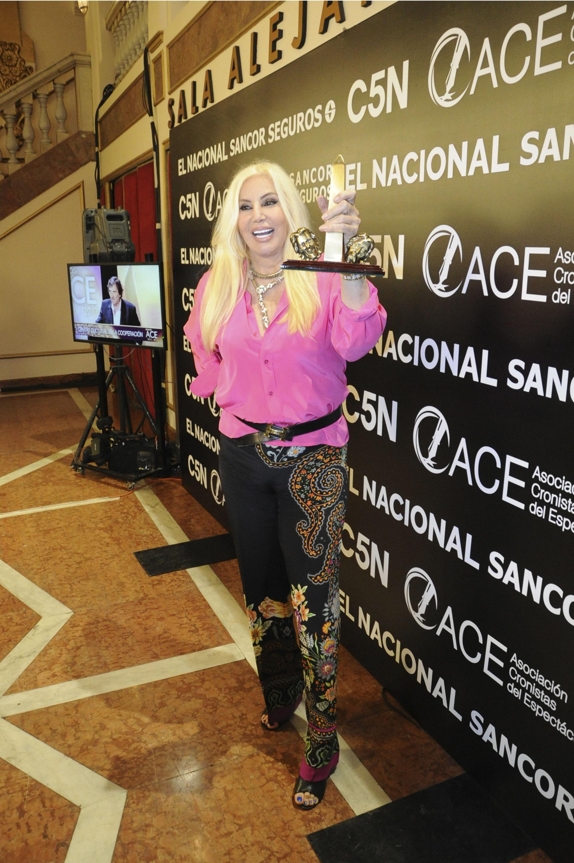 """En los premios ACE, Susana Giménez ganó en la categoría Producción con Gustavo Sofovich por """"Sugar"""". En total, el musical obtuvo diez estatuillas (Verónica Guerman / Teleshow)"""