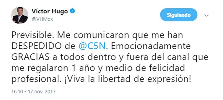 Tuit de Víctor Hugo Morales