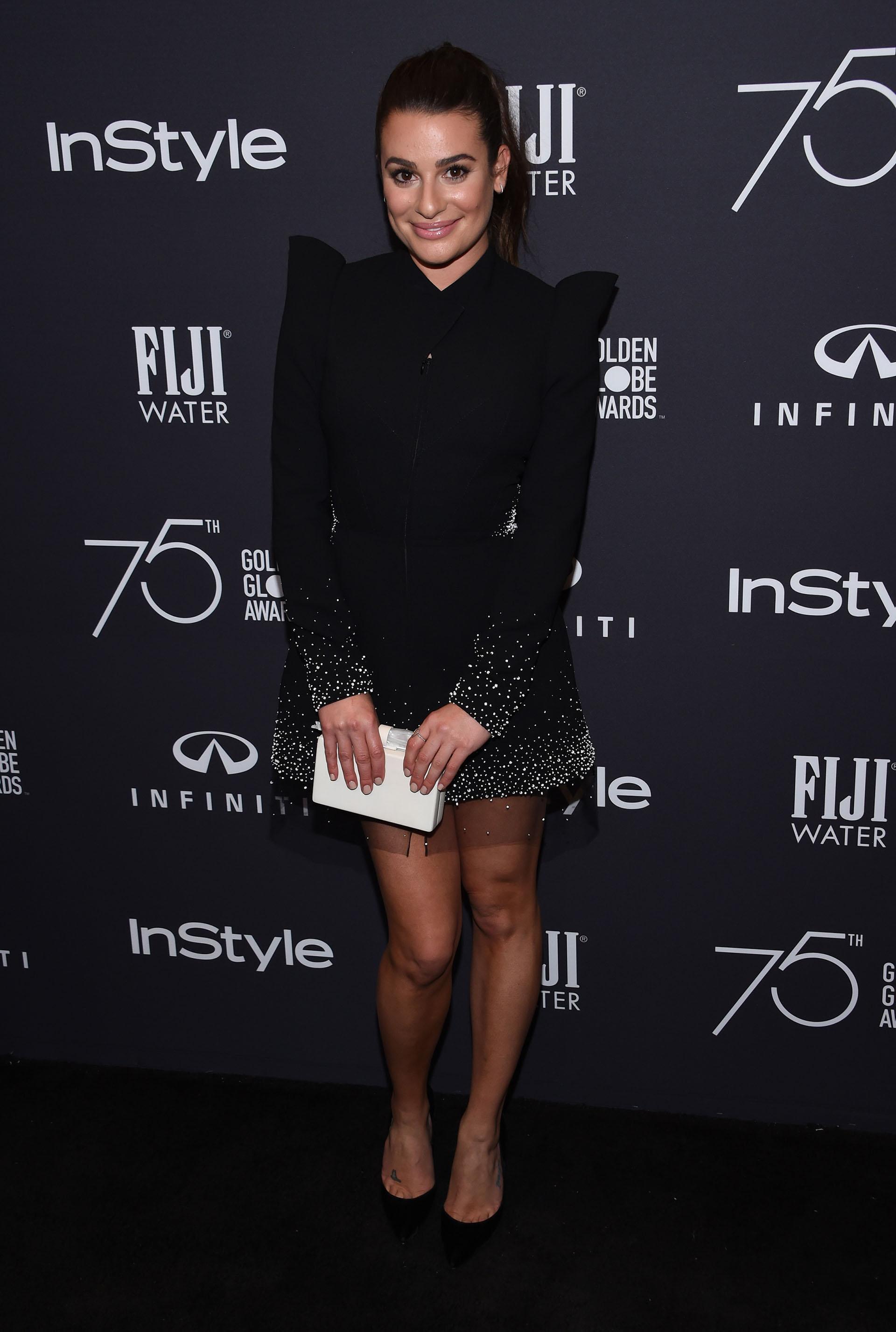 Negro y brillos plata para la fabulosa Lea Michele