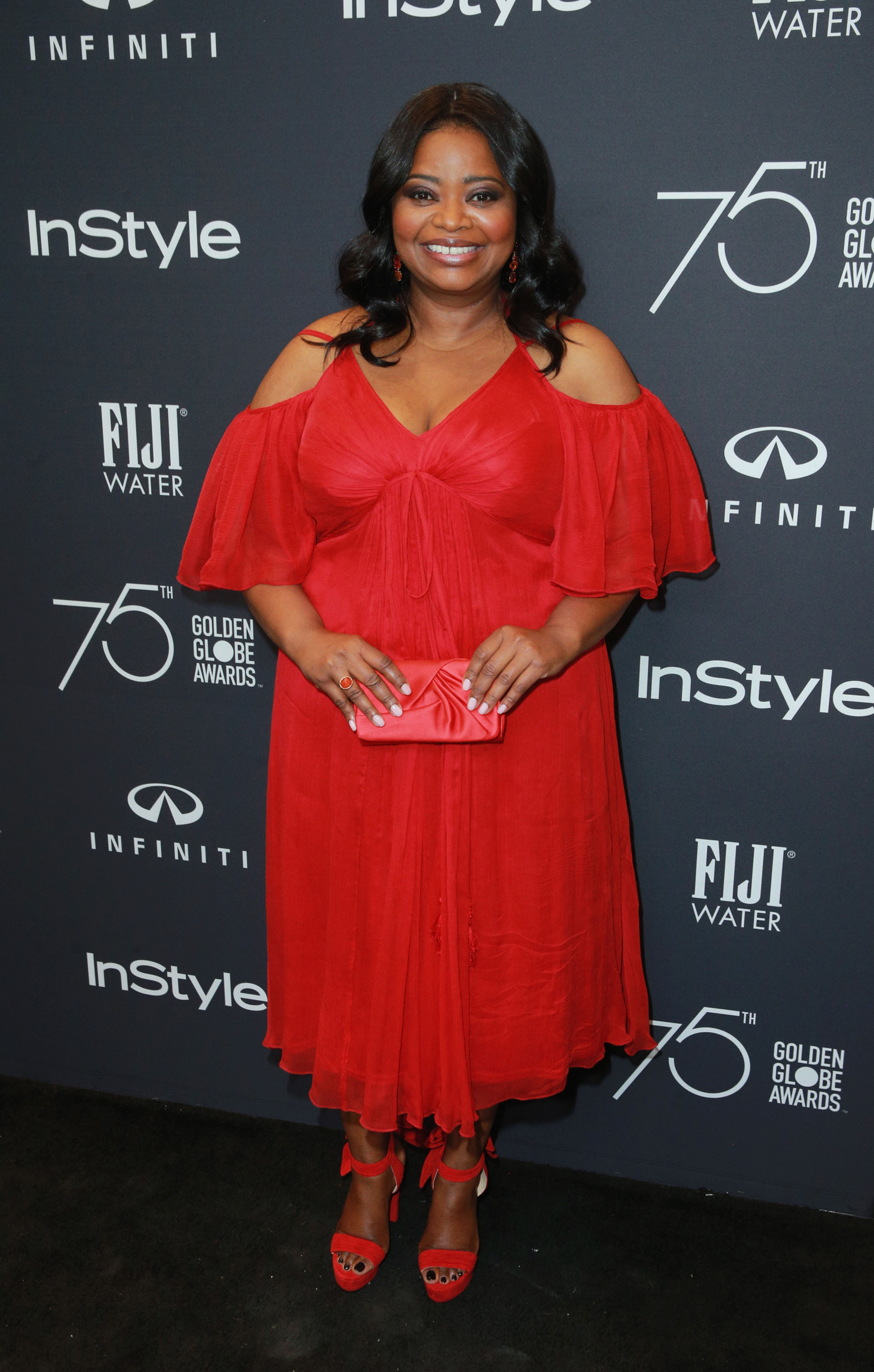 "Un vaporoso vestido ""total red"" para Octavia Spencer"