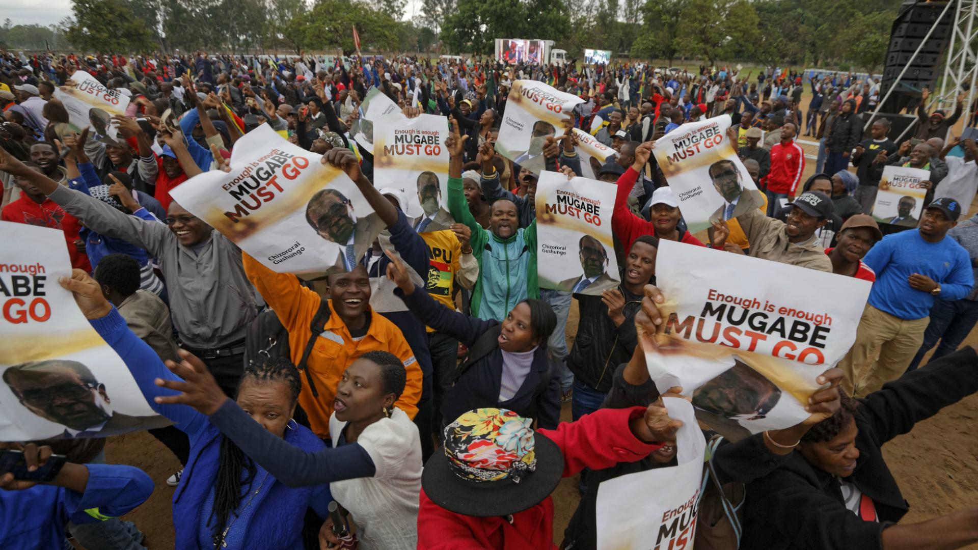 Miles de personas salieron a protestar para pedir la renuncia de Mugabe. (AP)