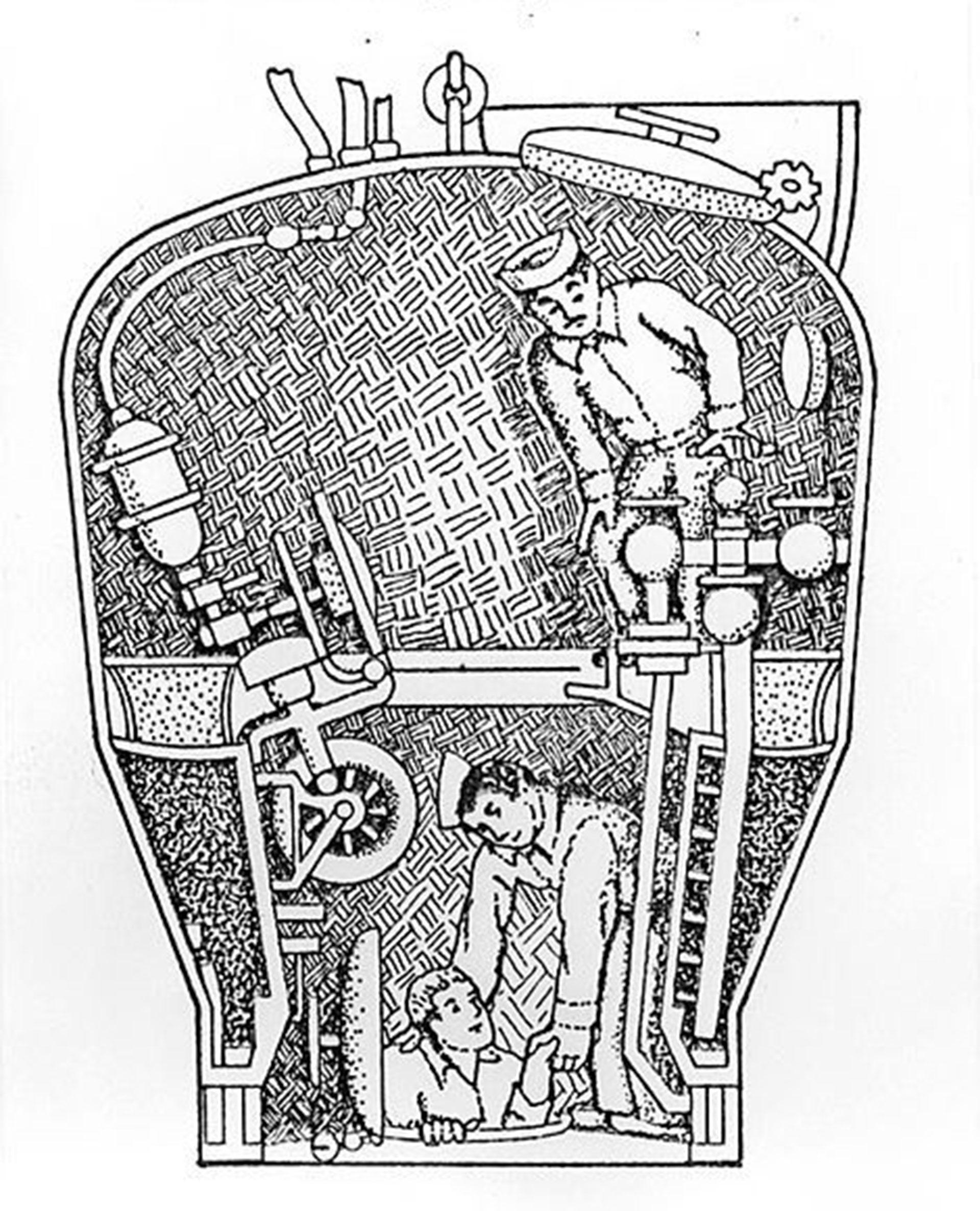 El diseño de aquella época de cómo funcionaba la cámara de rescate