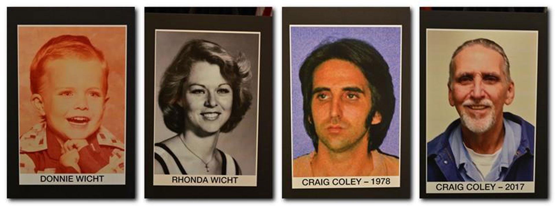 De izquierda a derecha, las víctimas, -Donald y Rhonda Wicht-, y Craig Coley, en 1978 y 2017