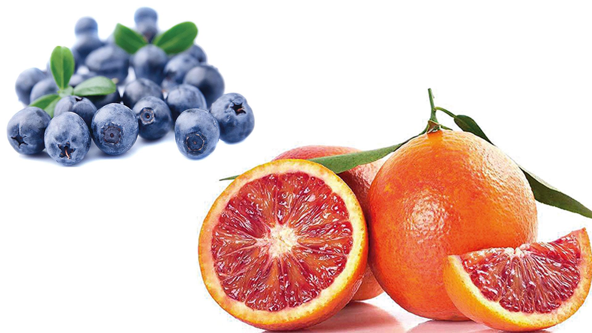 Arándanos y naranja sanguina.