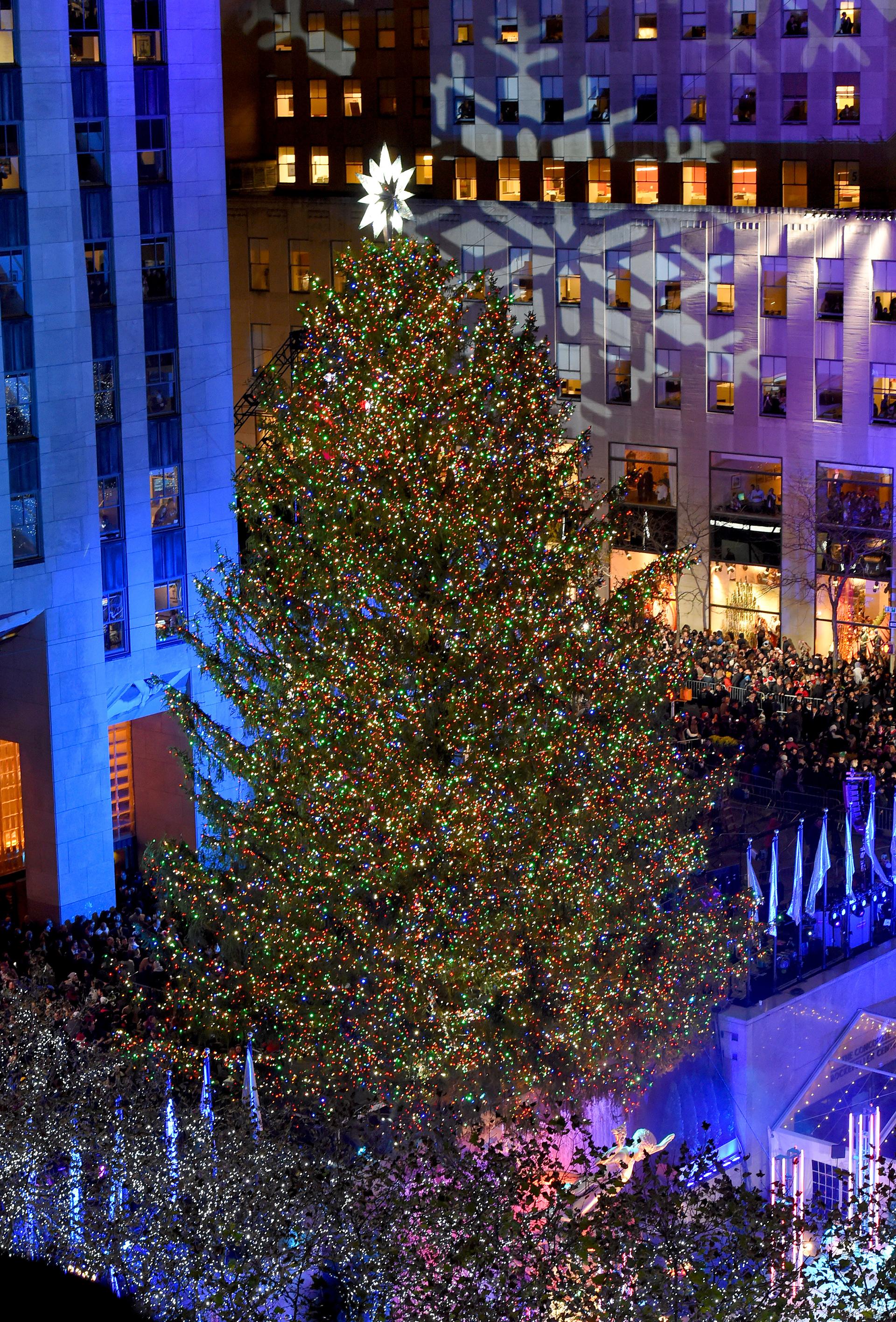 La copa del árbol quedó coronada, como viene siendo habitual desde 2004, por una luminosa estrella diseñada por la firma Swarovski, con 25.000 cristales y un diámetro de tres metros