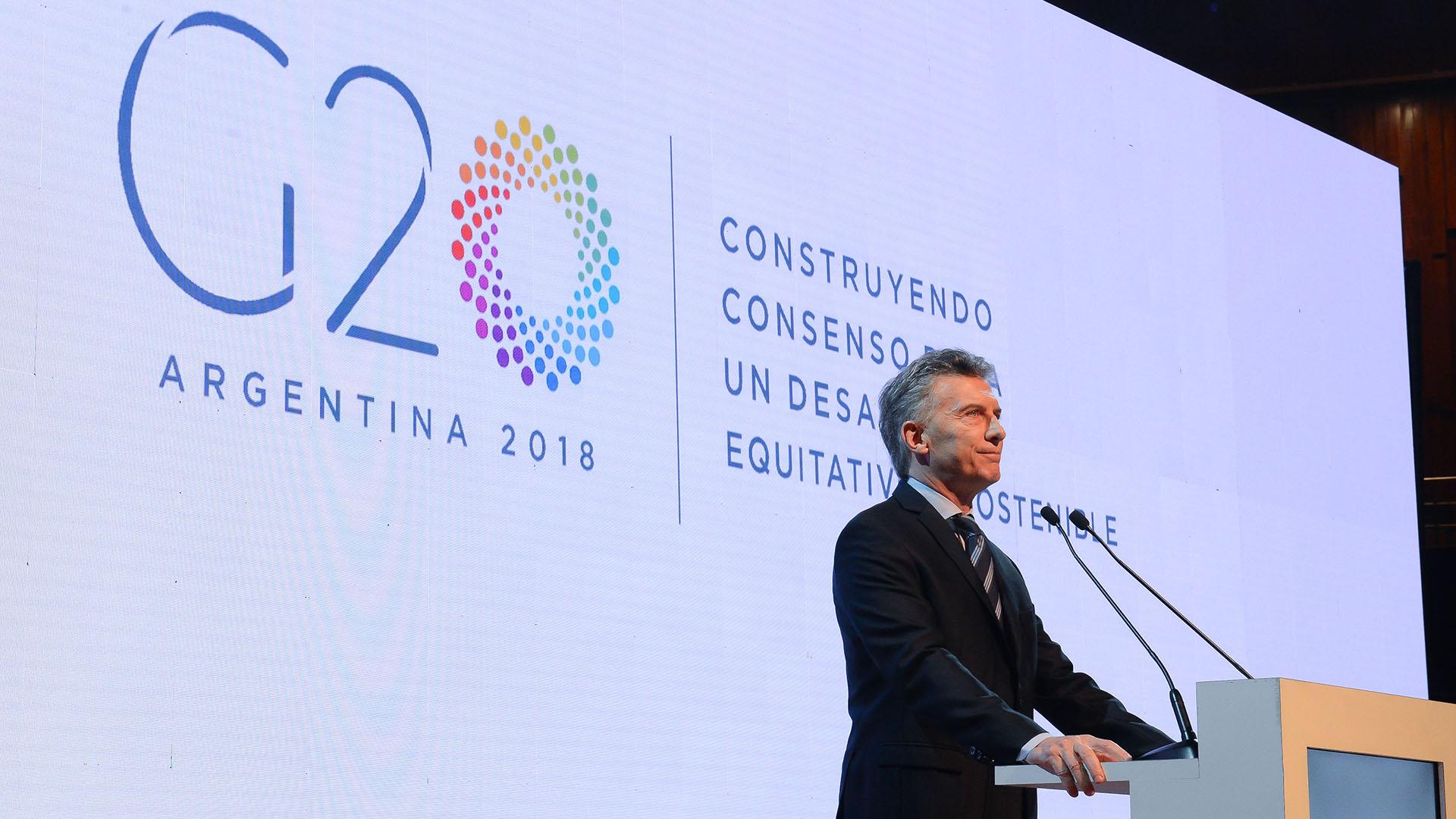 El presidente Mauricio Macri, durante la presentación del G20 en Argentina