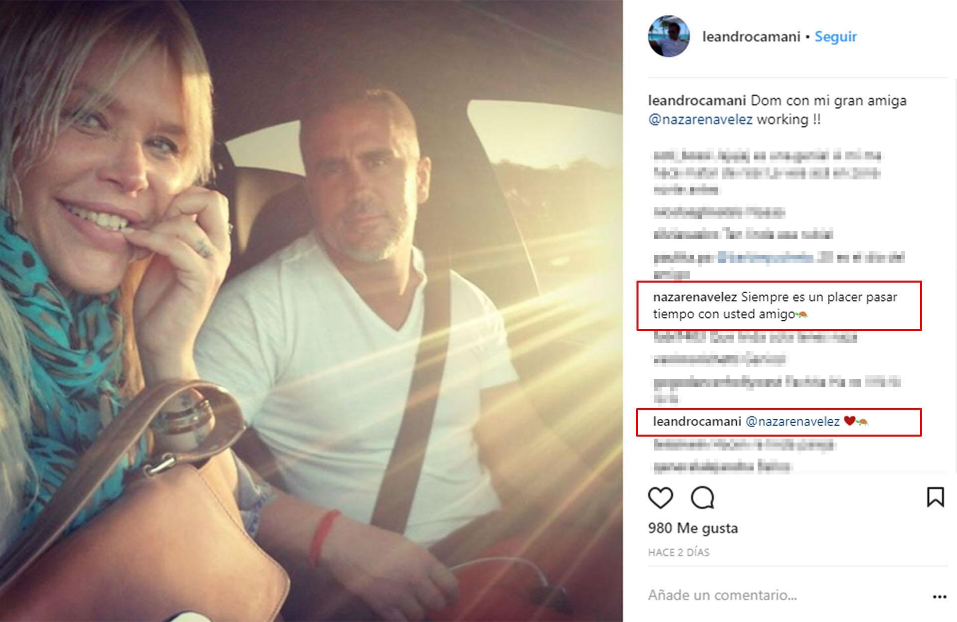 El último posteo de Camani en su Instagram, con la tortuga que define su relación con Nazarena; él,luego,sumó un corazón