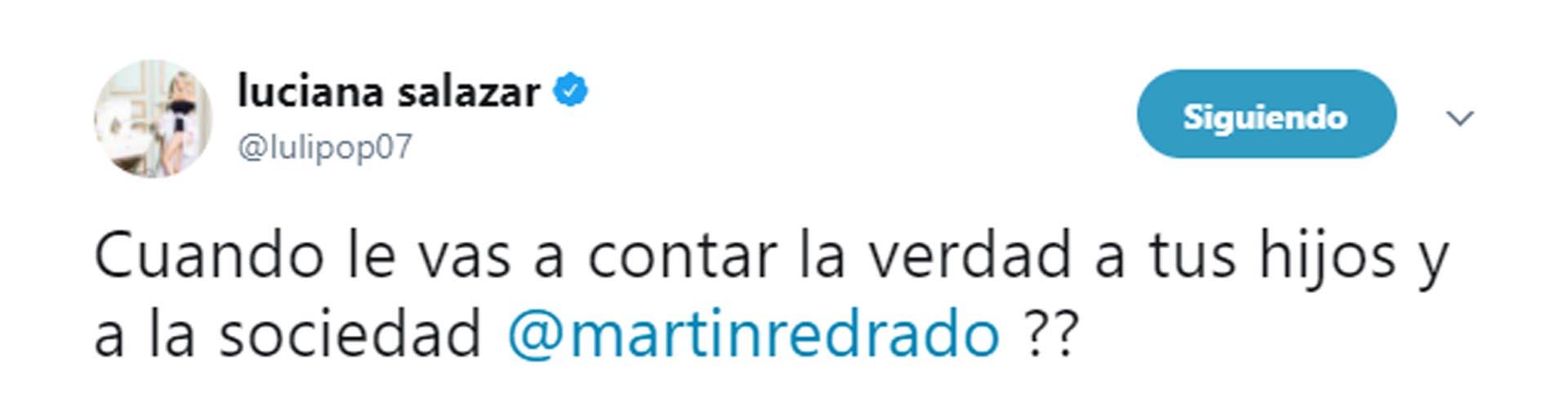 Uno de los mensajes que Salazar escribió contra Redrado en su cuenta de Twitter