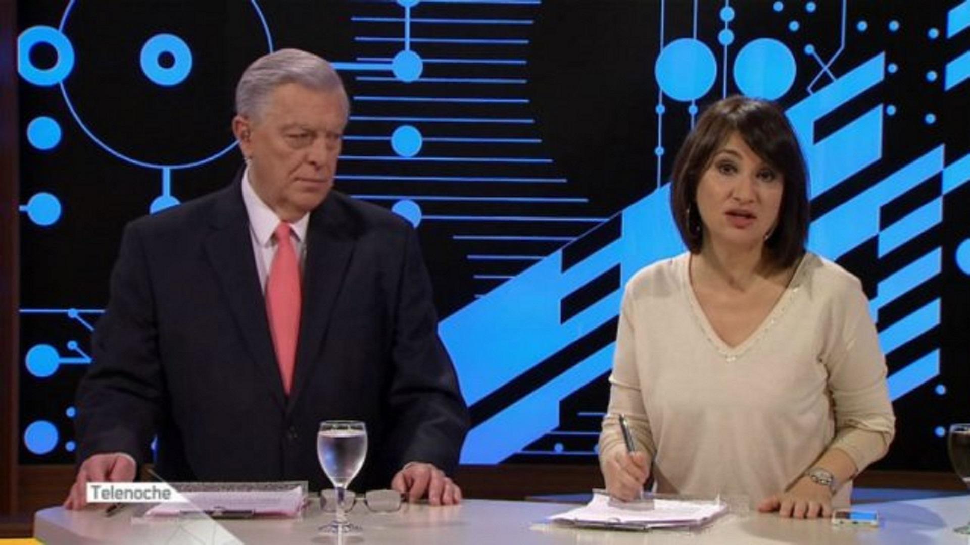 """Santo Biasatti y María Laura Santillán, en """"Telenoche"""""""