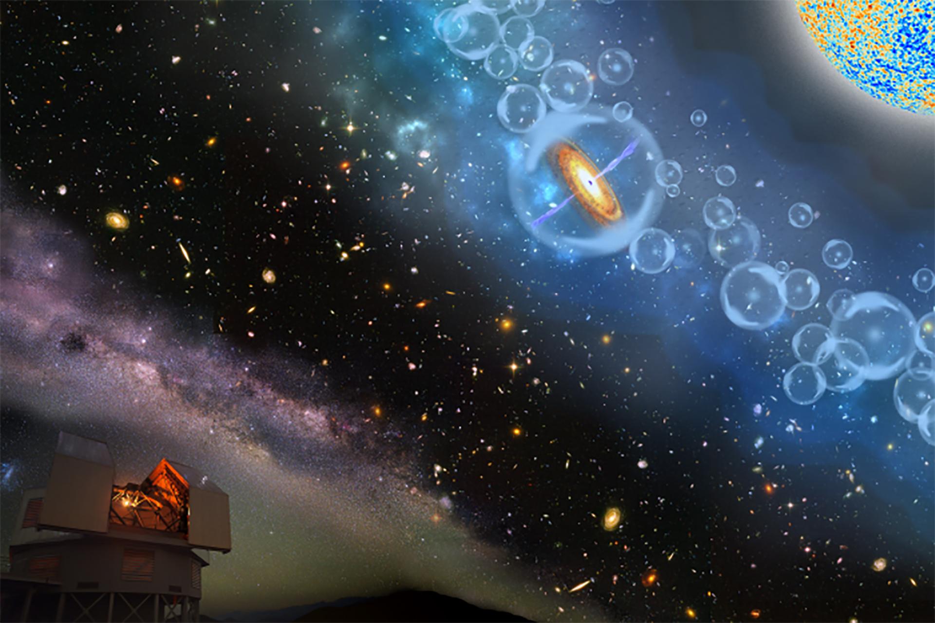 La dimensión del agujero negro hallado es extraordinaria, lo que indica su edad y abre las puertas de una nueva perspectivaen el estudio del origen del universo (Carnegie Science)