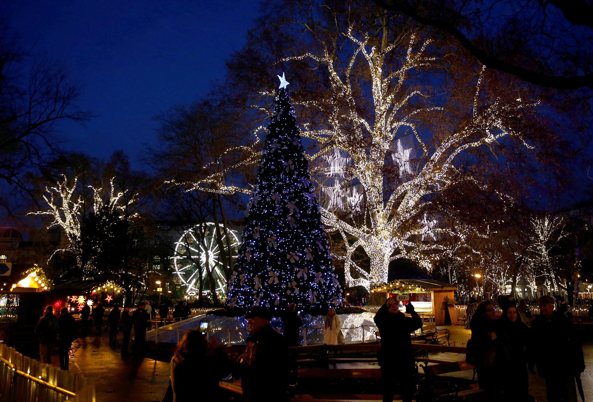 También en Viena, pero con otro tipo de iluminación, estos árboles brillan frente a la municipalidad de la ciudad austríaca