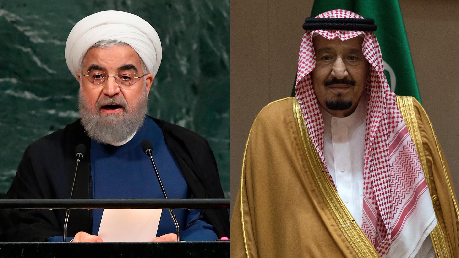 El presidente de Irán, Hassan Rouhani, y el rey de Arabia Saudita, Salman bin Abdulaziz al Saud (Getty)