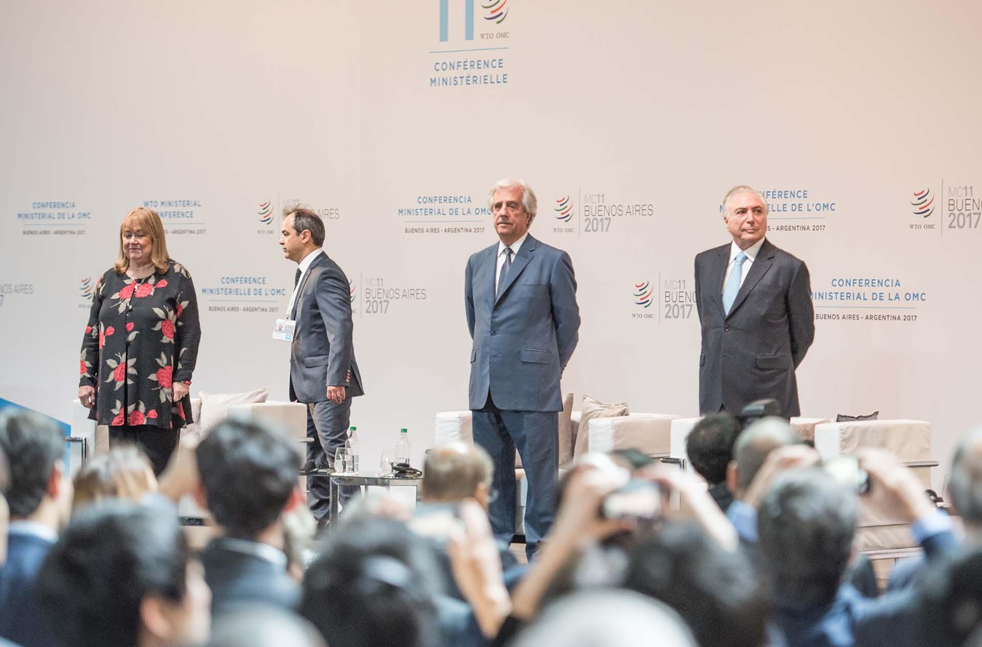 Susana Malcorra, Tabaré Vázquez y Michel Temer