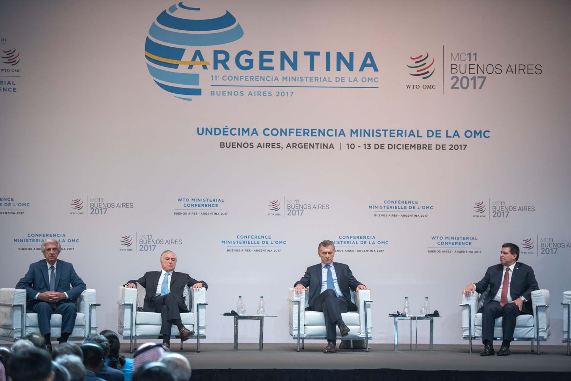 Los presidentes de la región que estuvieron presentes en la undécima conferencia de la OMC