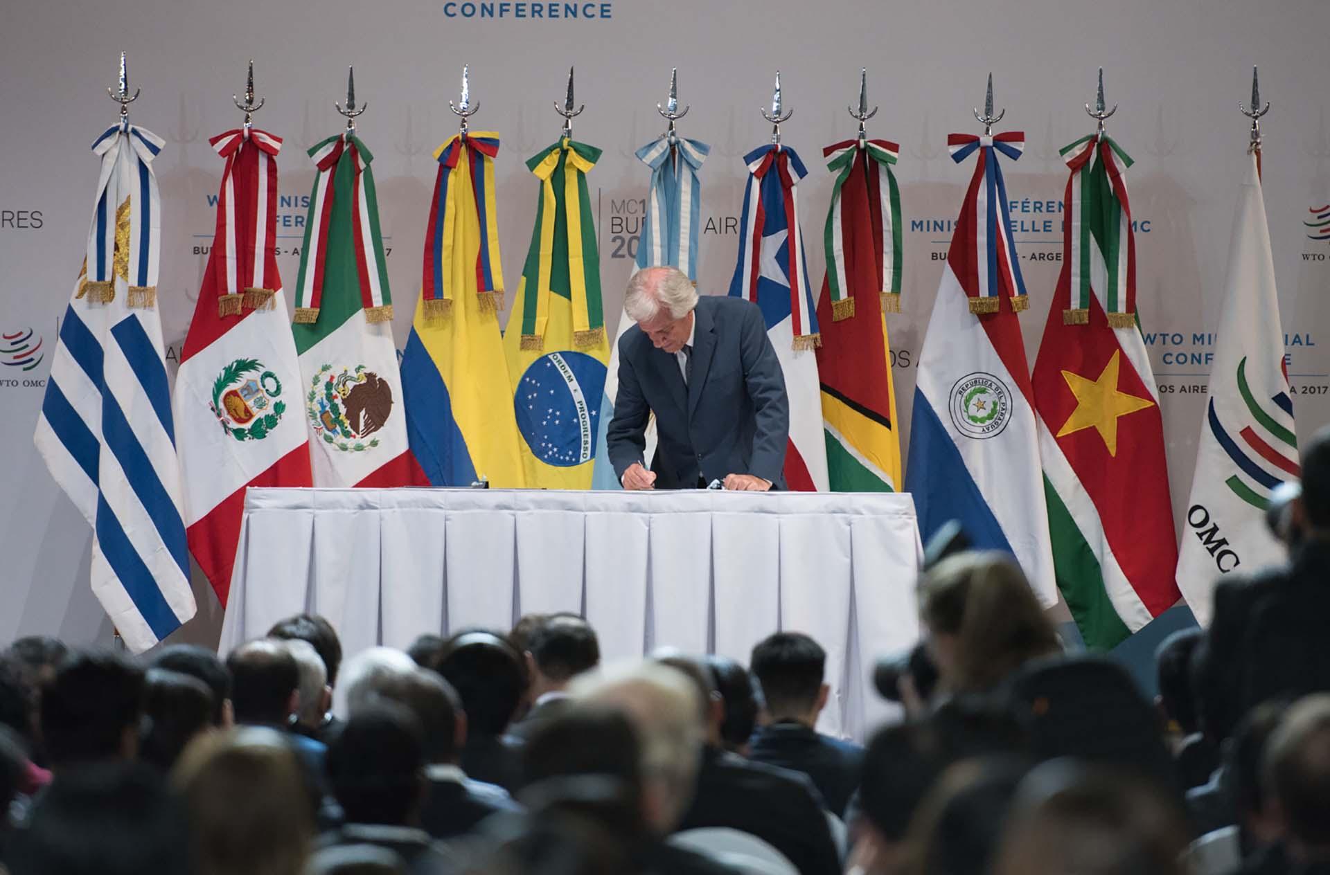 El presidente uruguayo durante la declaración presidencial de Buenos Aires