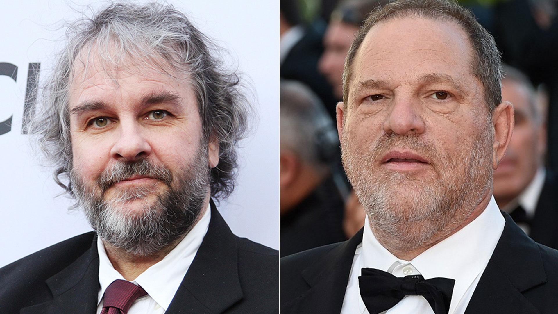 El director Peter Jackson y el productor Harvey Weinstein