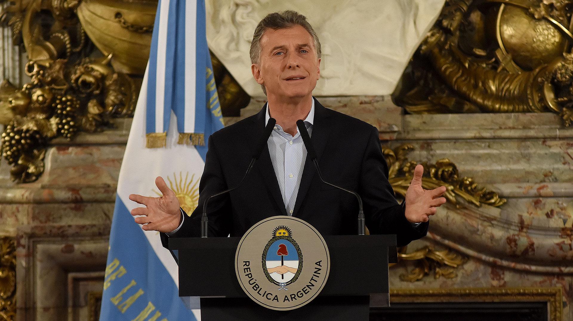 Mauricio Macri durante una conferencia de prensa en la Casa Rosada