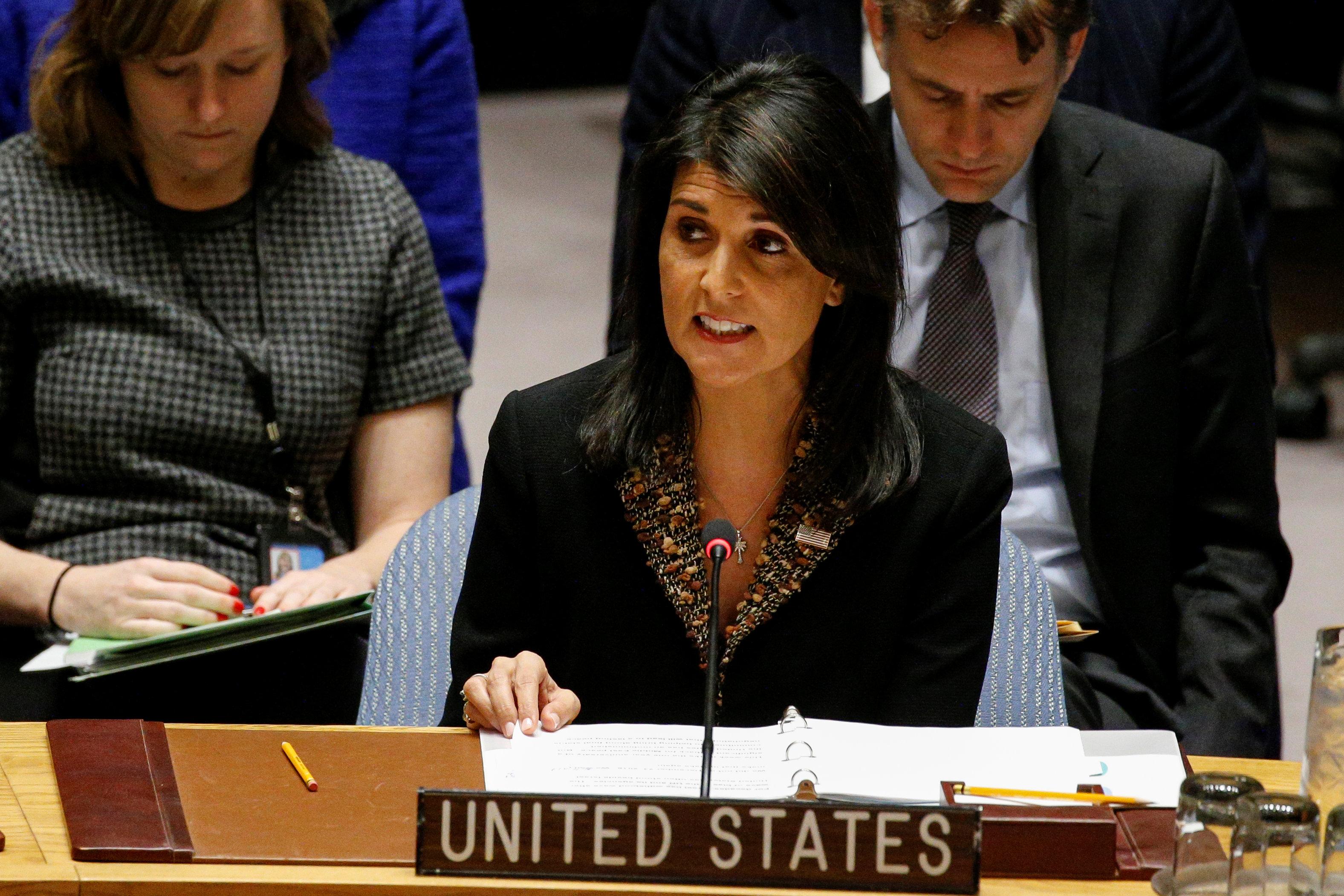 Nikki Haley, embajadoranorteamericana ante la ONU, advirtió que EEUU tiene las armas listas para un nuevo bombardeo si Al Assad comete otra masacre (REUTERS)