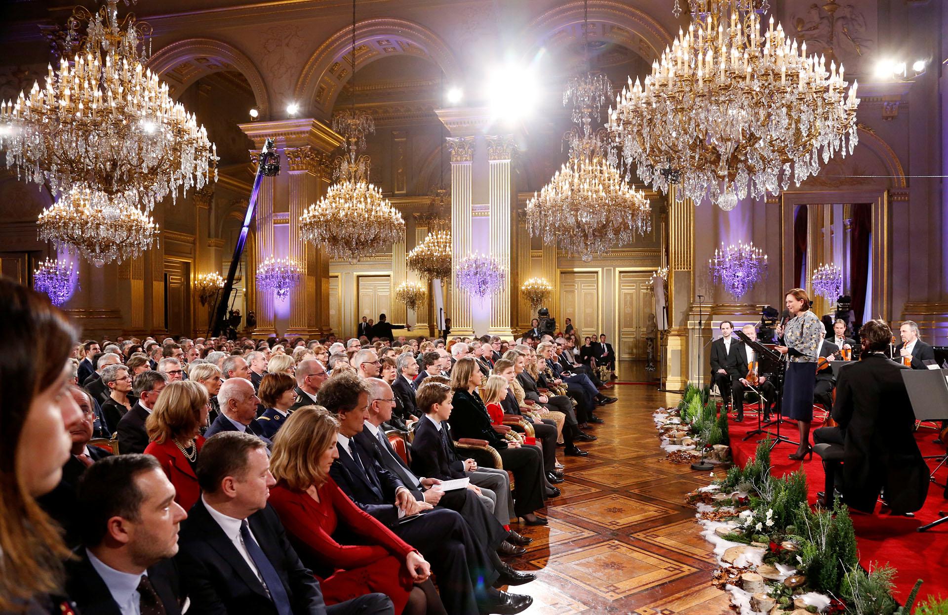 El concierto de Navidad que cada año tiene lugar en uno de los imponentes salones del Palacio Real de Bruselas