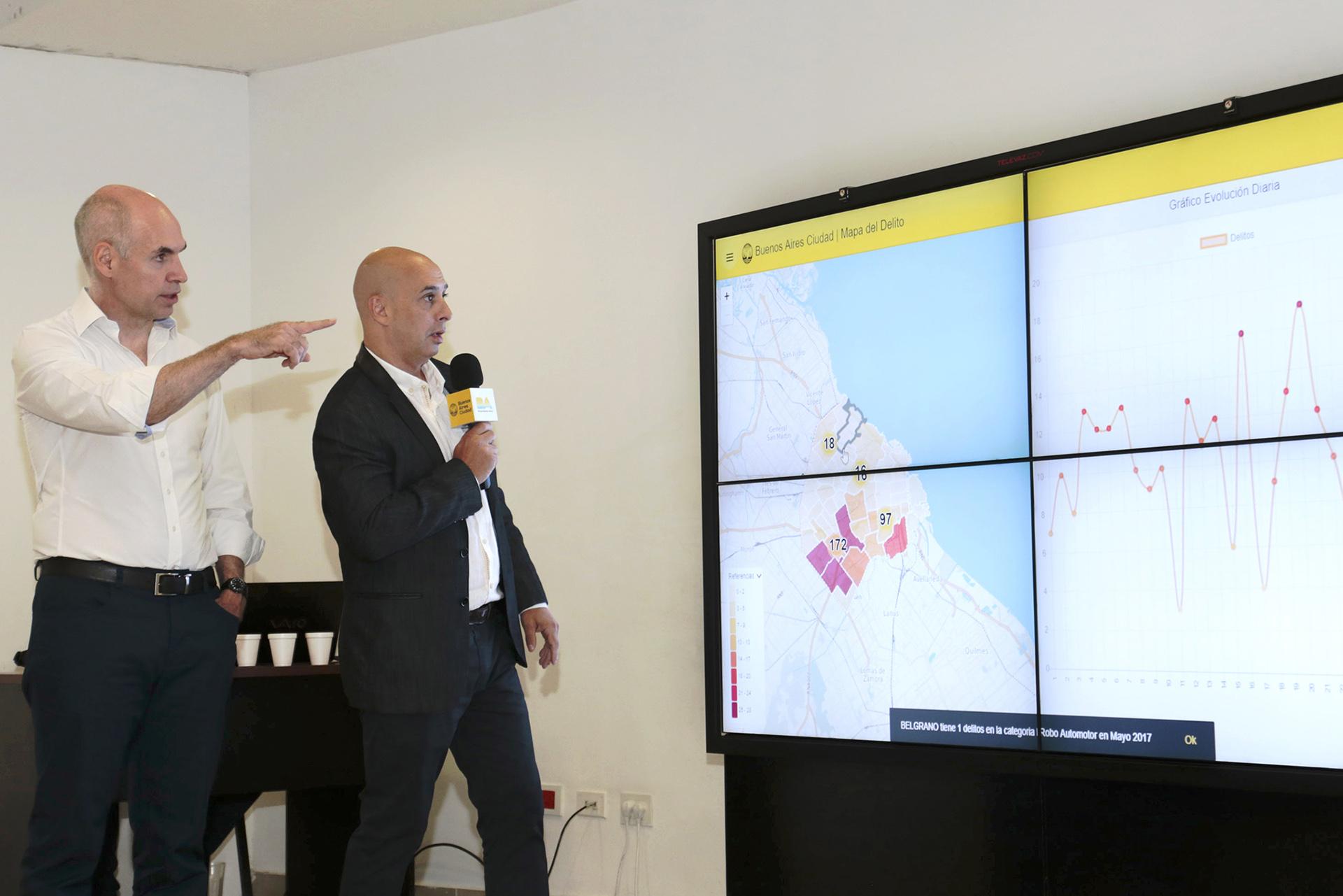 Este jueves el Jefe de Gobierno porteño, Horacio Rodríguez Larreta y el ministro de Seguridad de la Ciudad, Martín Ocampo, presentaron el Mapa del Delito