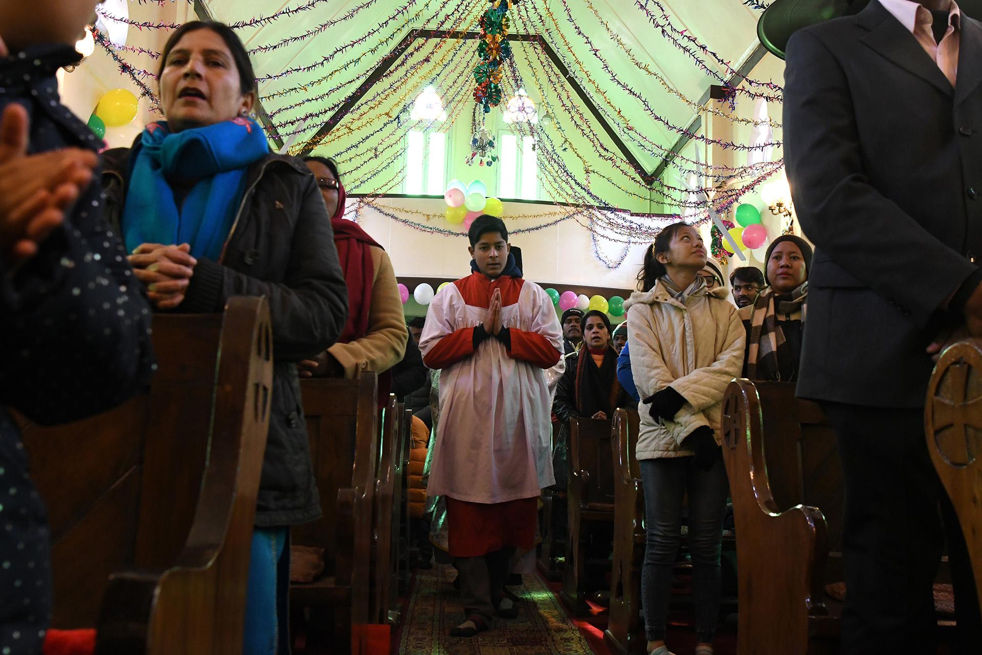 Misa de Navidad en Srinagar, India