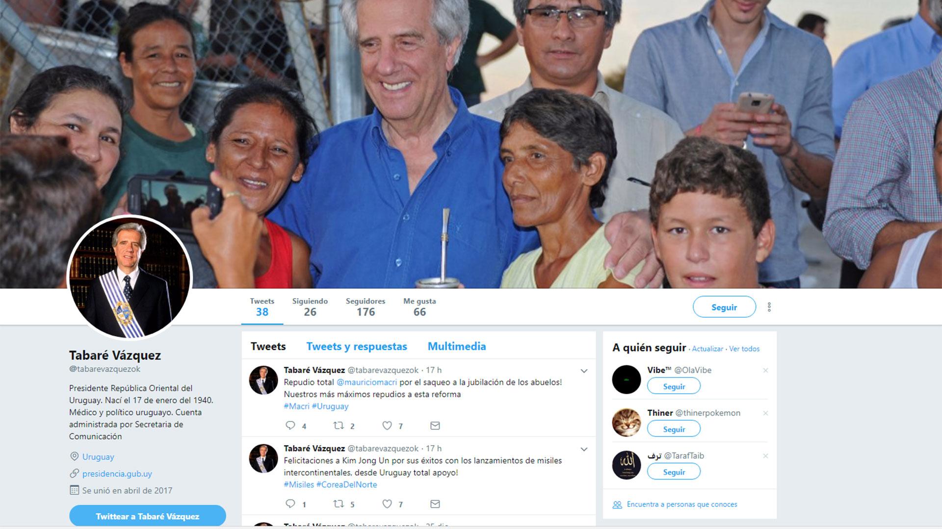 El perfil de la cuenta falsa de Tabaré Vázquez en Twitter y que denunció el gobierno uruguayo