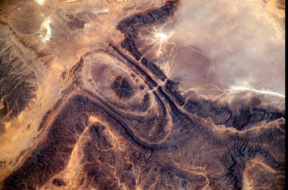 Una zona desértica de África fotografiada desde la Estación Espacial Internacional (Paolo Nespoli, ESA/NASA)