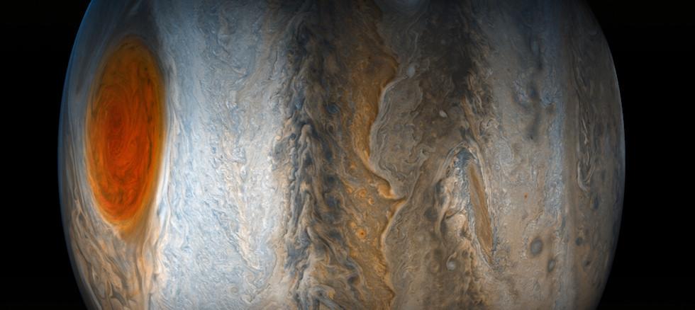 Júpiter observado desde la sonda Juno (NASA/JPL-Caltech/SwRI/MSSS/Gerald Eichstadt/Sean Doran)