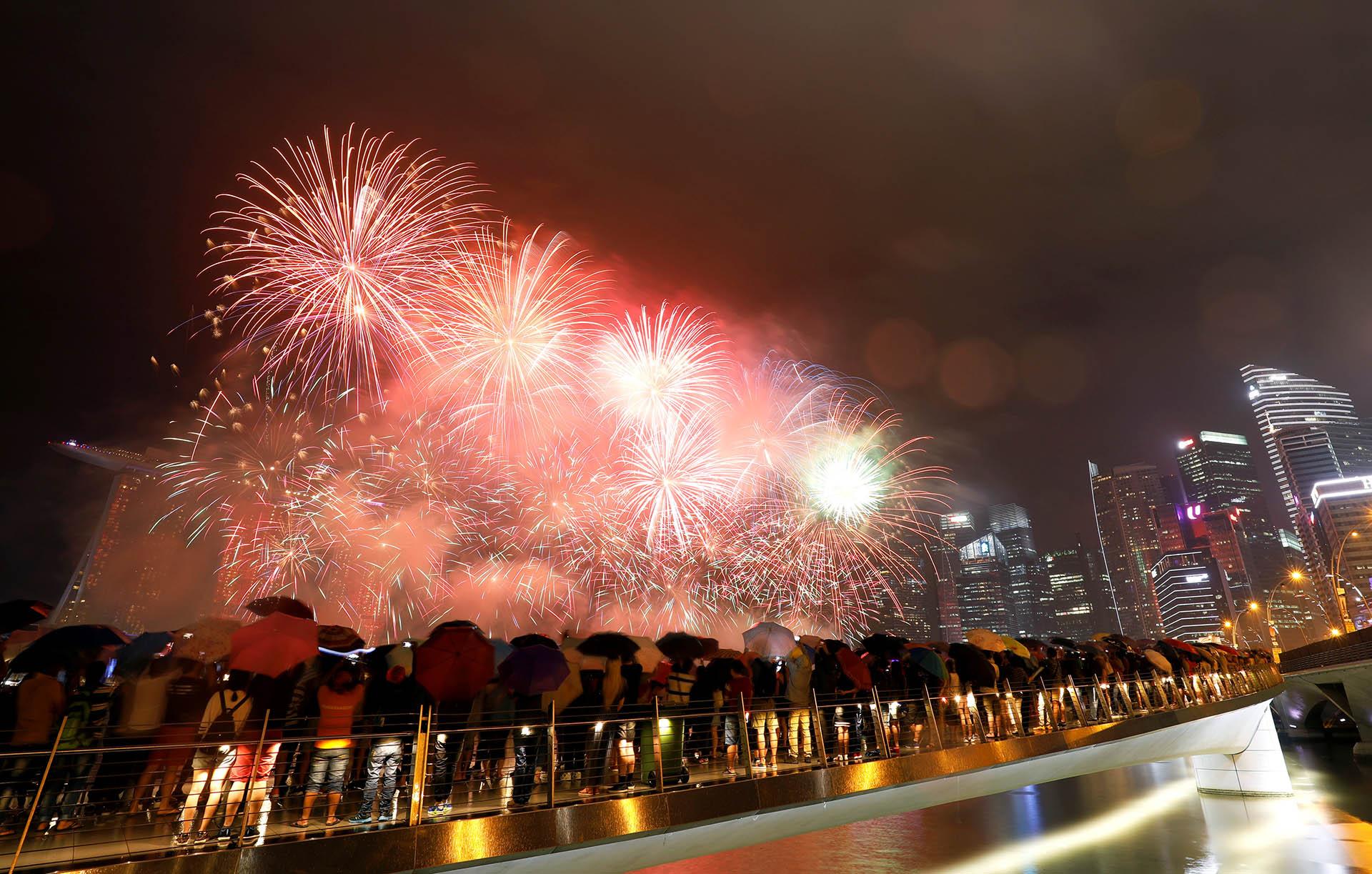 En Singapur, los festejos se centraron en la bahía