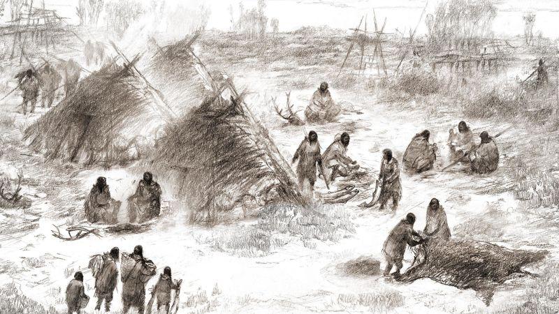 Representación del pueblo Upward Sun River (Eric S. Carlson en colaboración con Ben Potter)