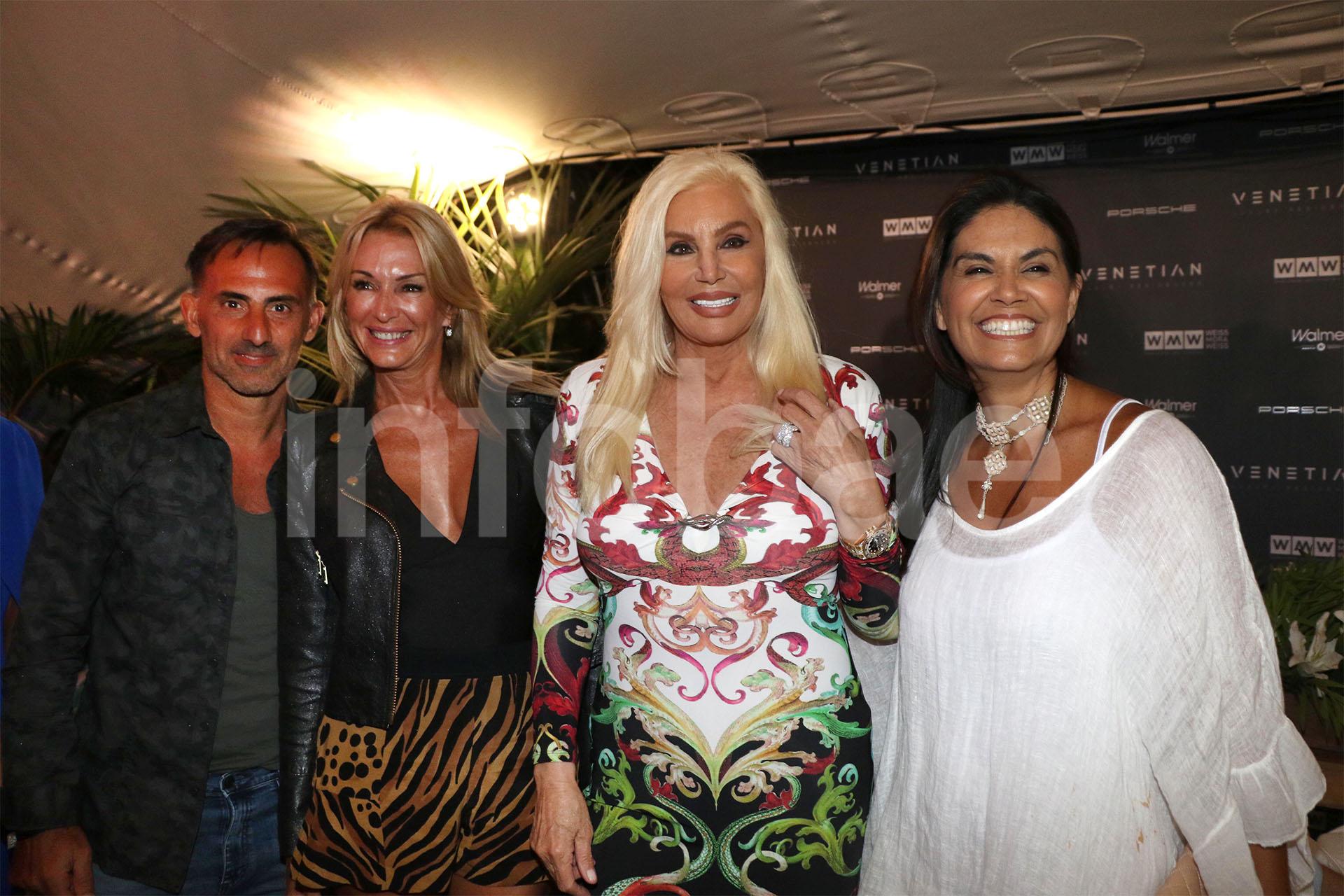 Susana, divertida durante la presentación y en compañía de Diego y Yanina Latorre