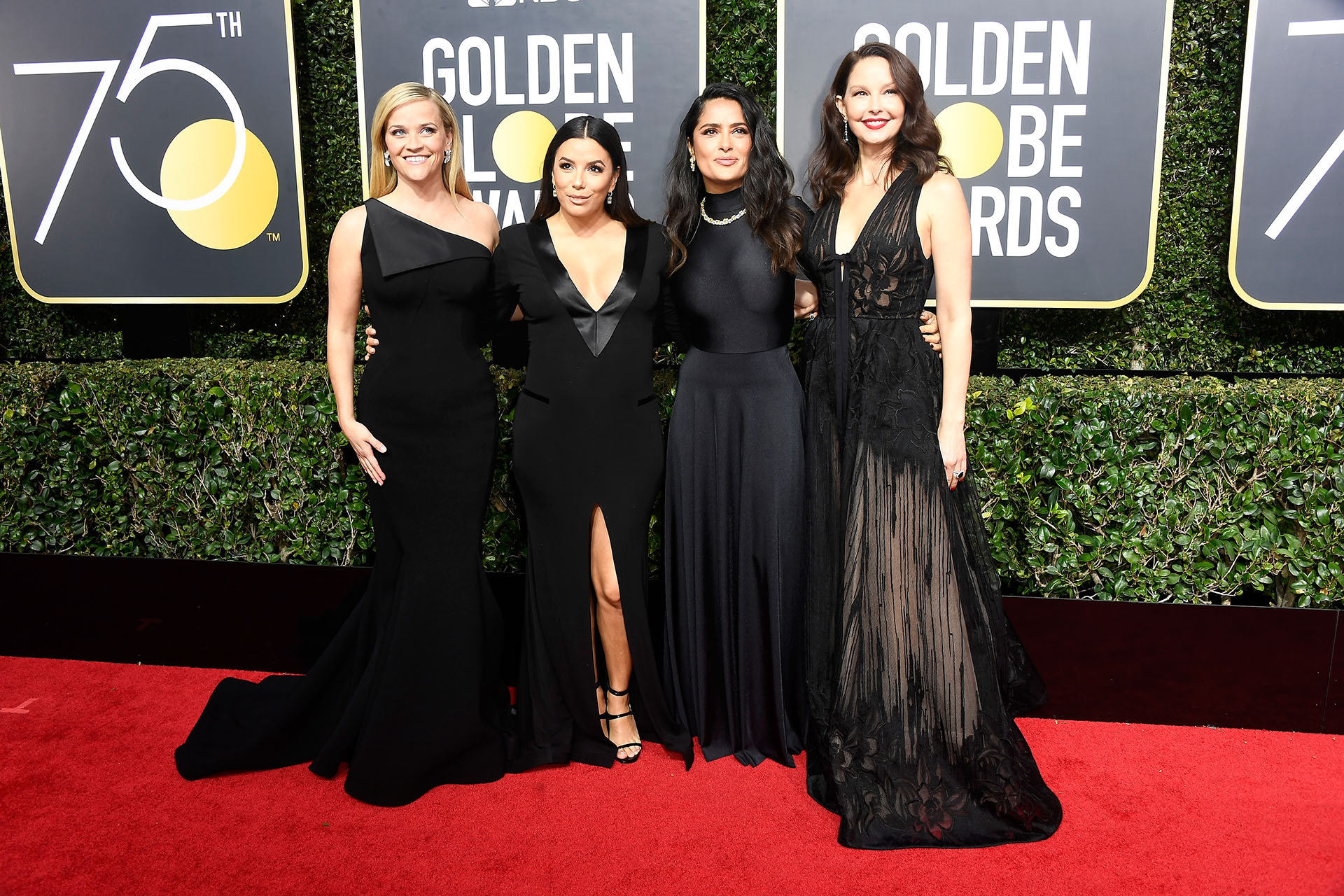 Reese Witherspoon, Eva Longoria, Salma Hayek y Ashley Judd (AFP)