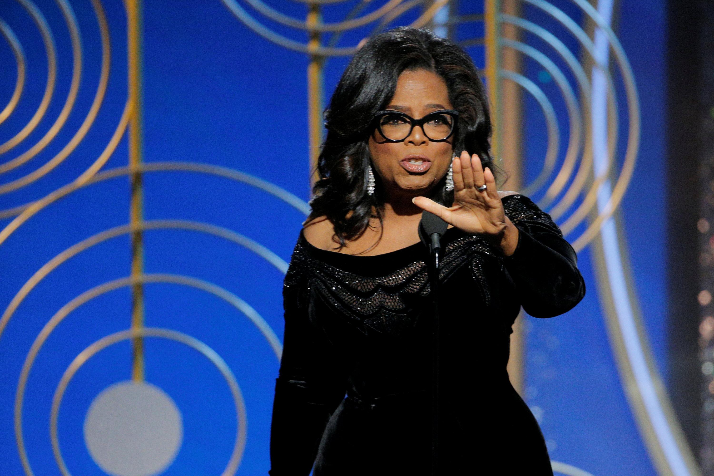 Oprah Winfrey durante su discurso (Paul Drinkwater/Courtesy of NBC/Handout via REUTERS)