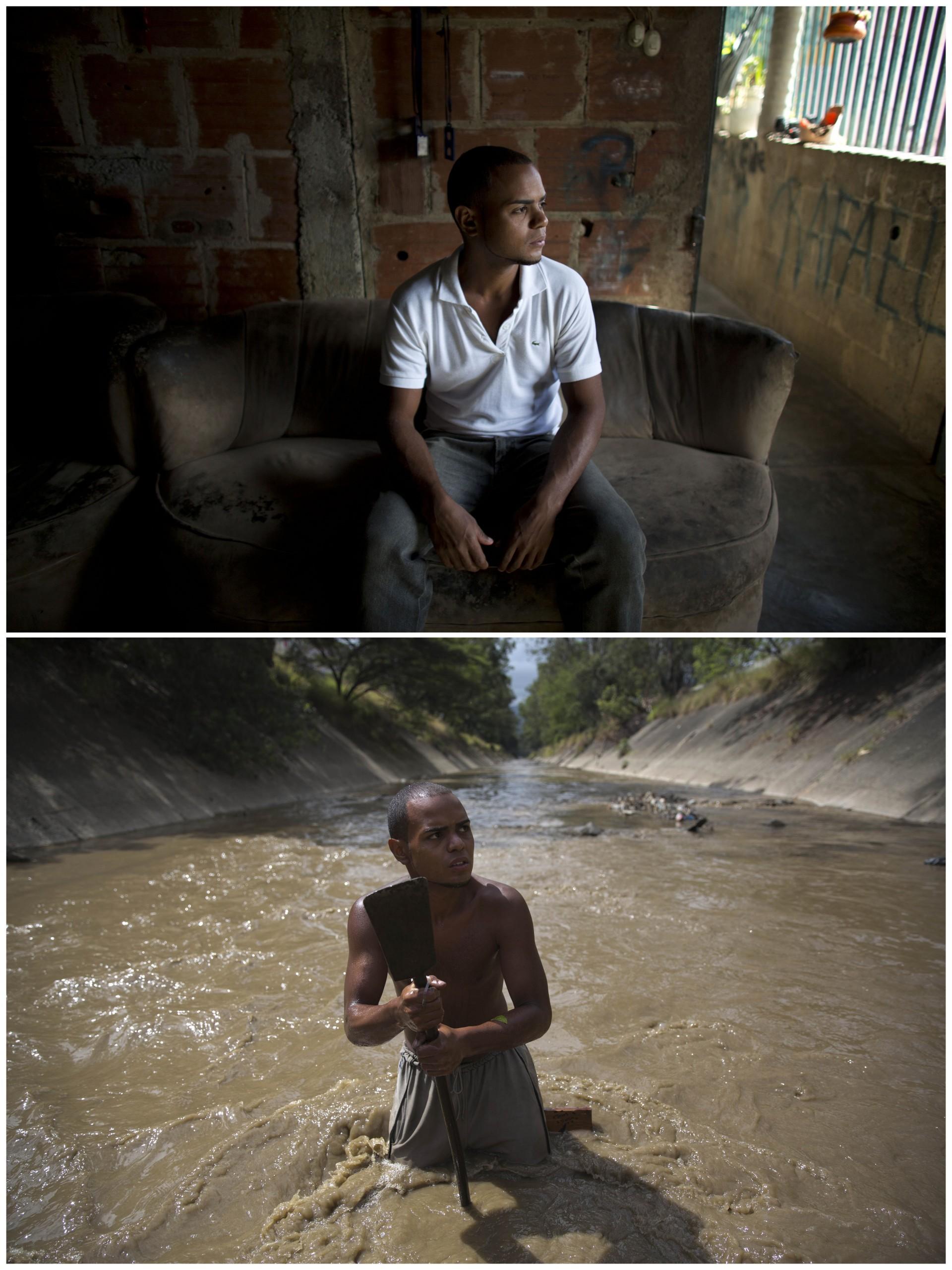 """Ángel Villanueva, en su hogar y en su """"trabajo"""", en el río Guaire. Tiene 25 años"""