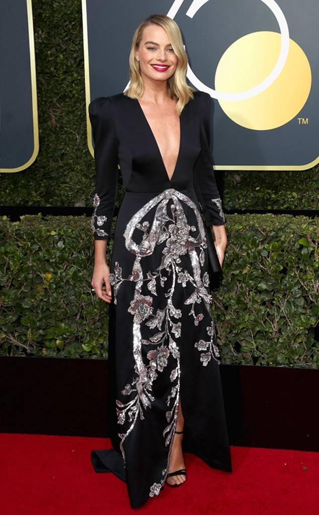 Margot Robbie con un diseño de Gucci. Fotos Gentileza E!