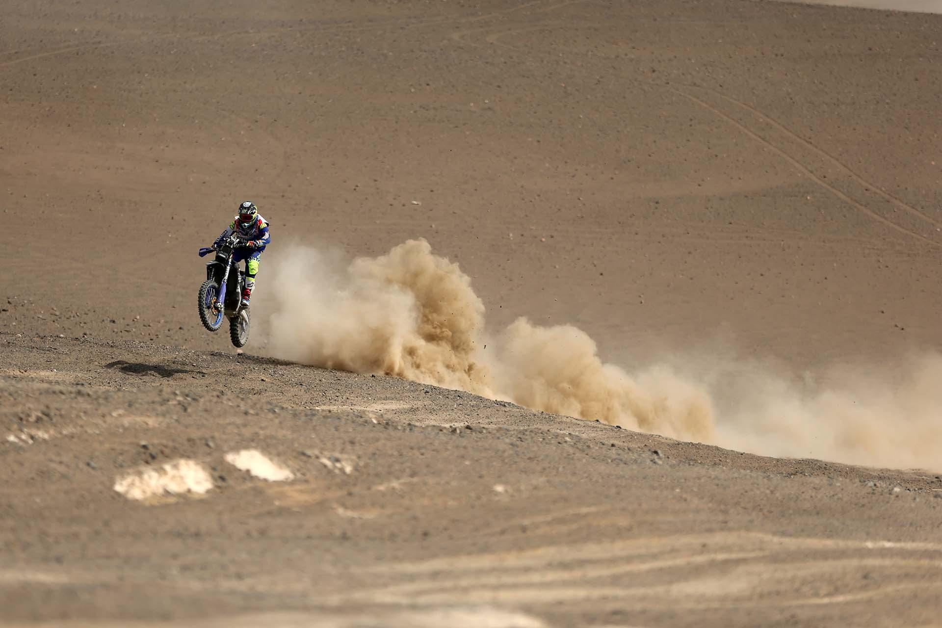 El piloto argentino Franco Caimi. El Dakar 2018 se despide este miércoles de las dunas con su quinta y última etapa sobre el desierto peruano y comienza a tomar altura al adentrarse en la cordillera andina, rumbo a Bolivia.