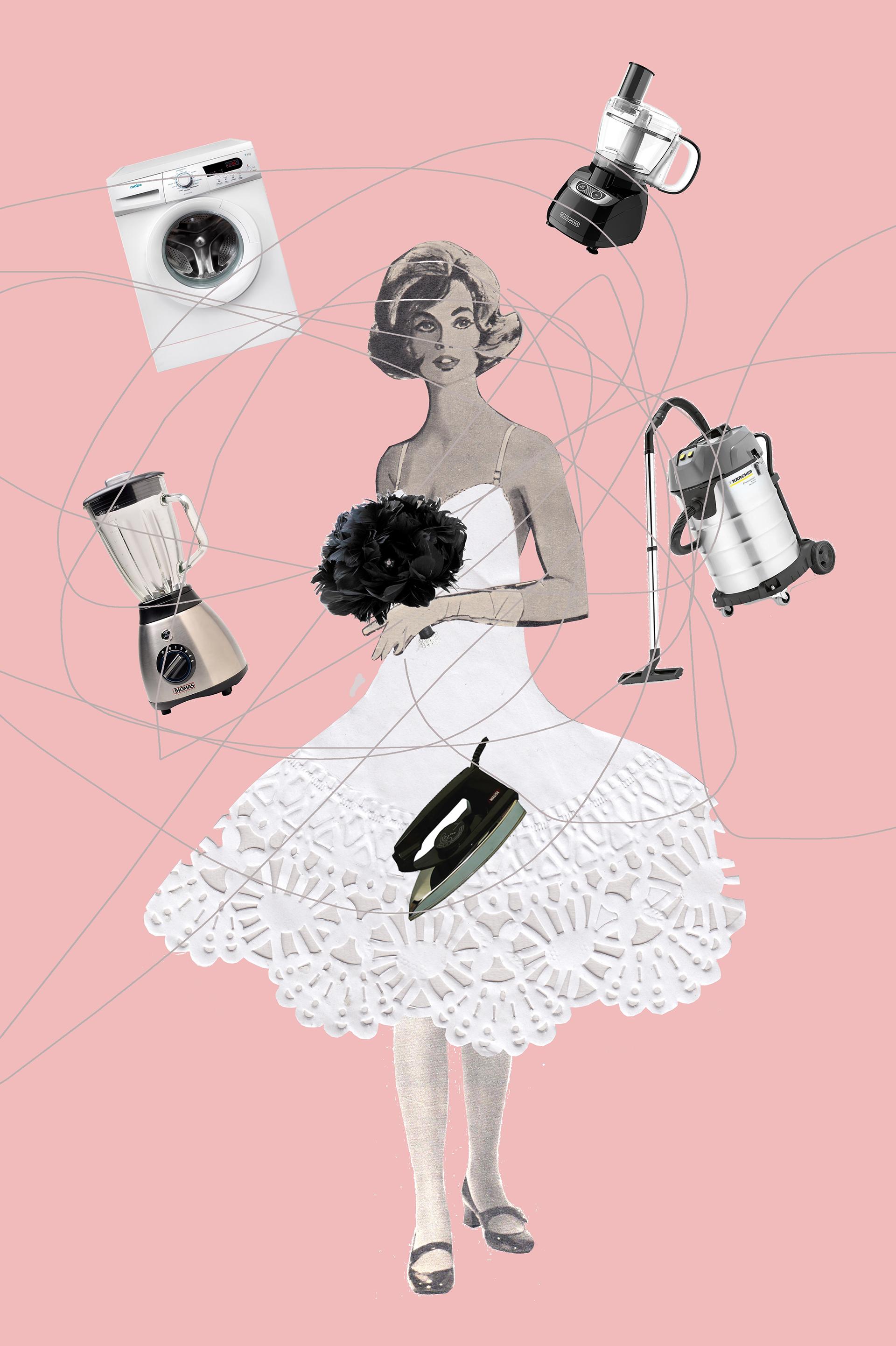 Novia electrodomesticada, collage de Juliana Rosato