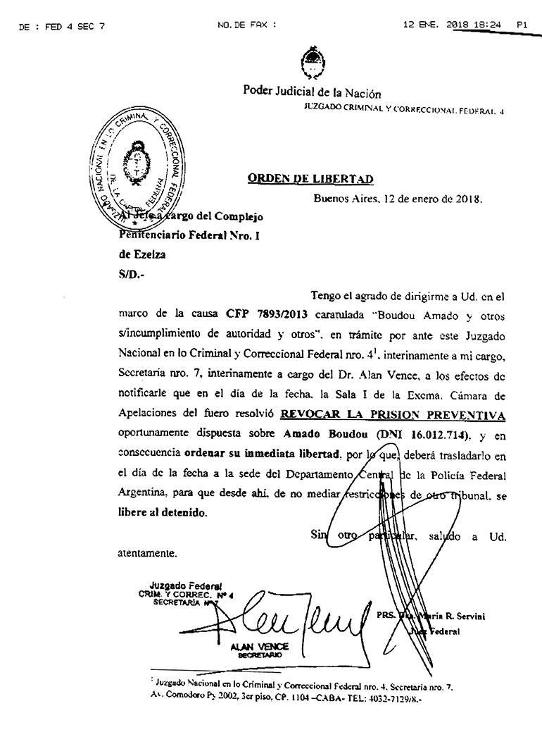 La orden para que Boudou sea liberado