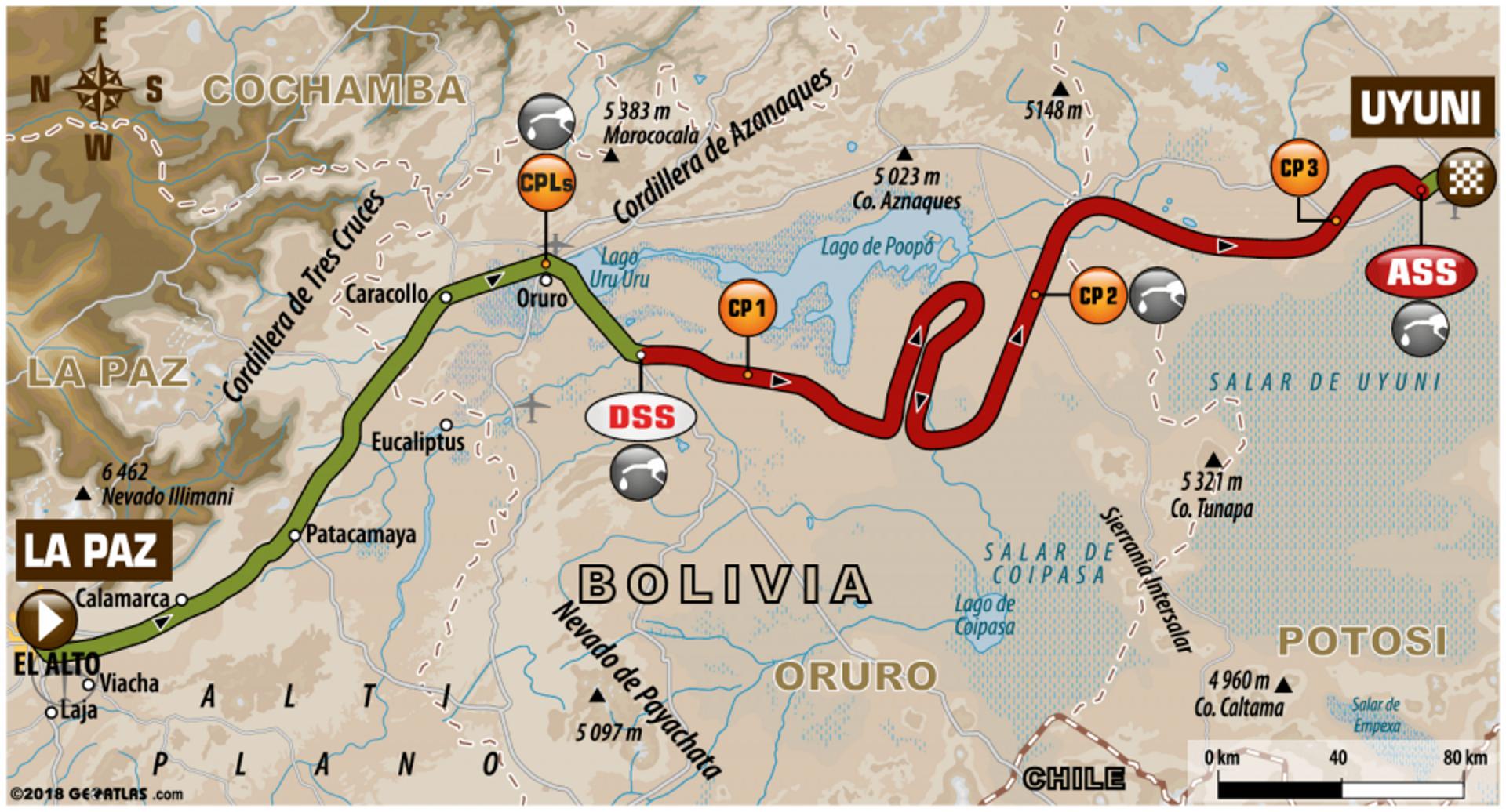 Así fue el recorrido entre La Paz y Uyuni de la séptima etapa del Dakar 2018 (Dakar)