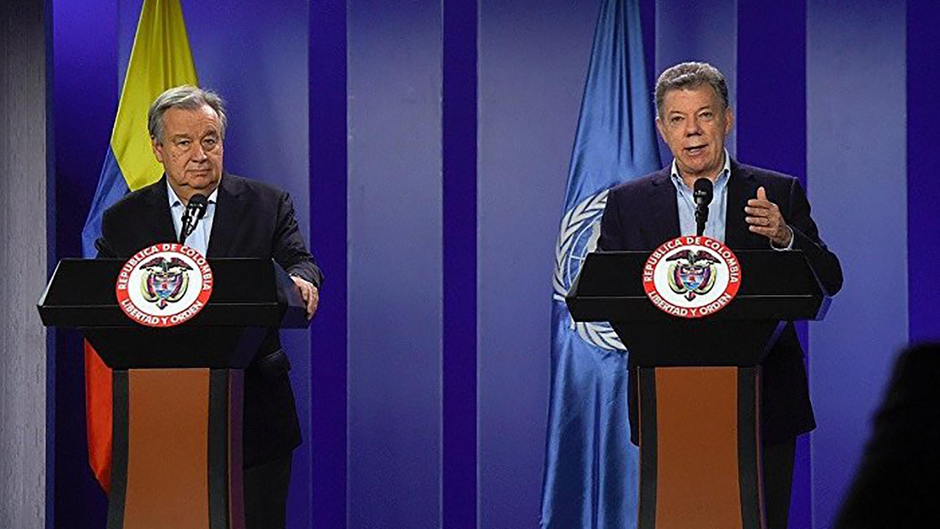 Antonio Guterres y Juan Manuel Santos