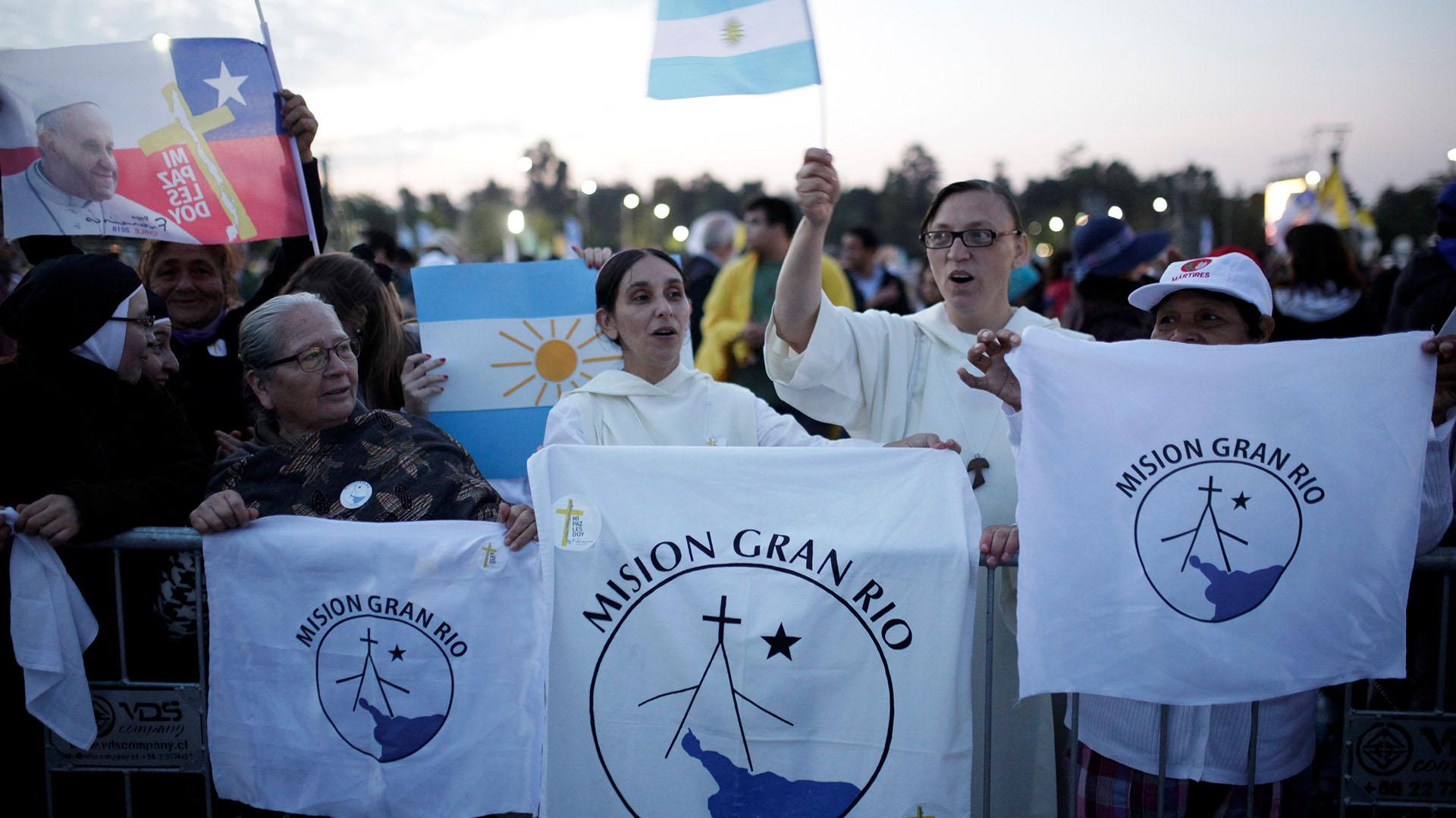 Las banderas argentinas se hicieron notar entre la multitud