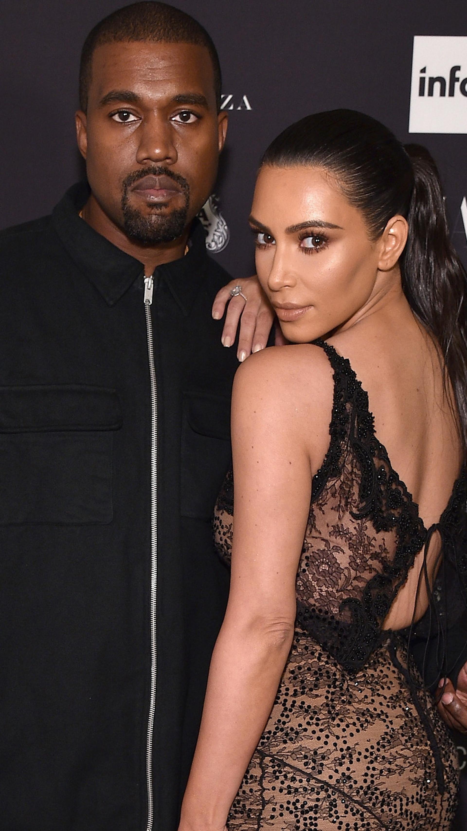 Kim Kardashian y Kanye West. (Fotos: E!)