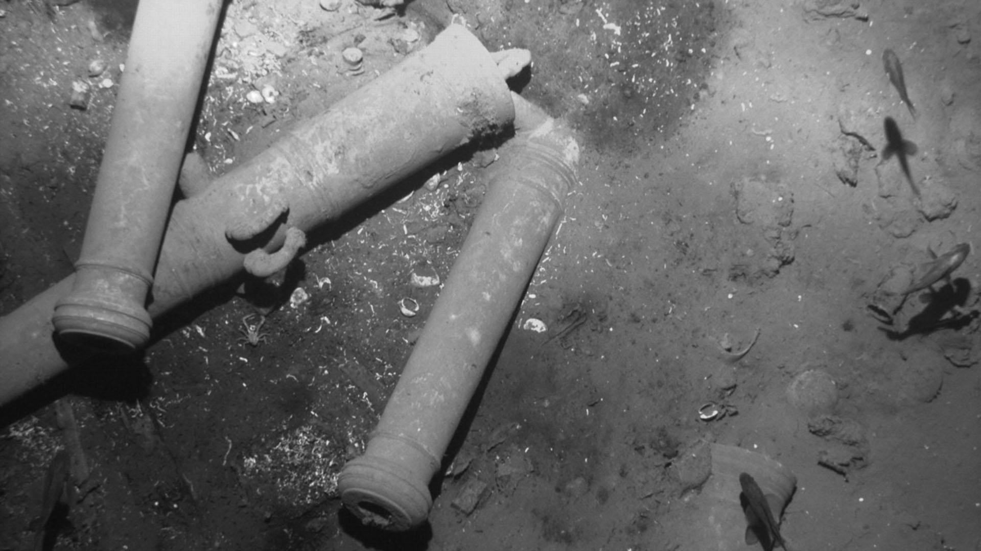 Restos del galeón, en las profundidades del Caribe
