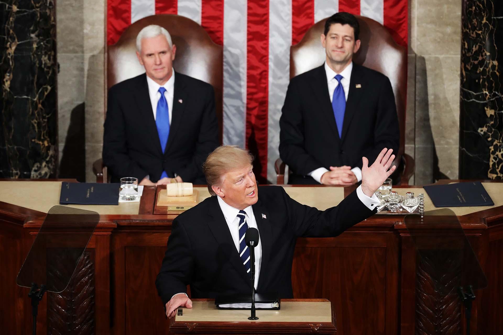 28/2/2017 Donald Trump habla en una sesión conjunta de ambas cámaras del Congreso