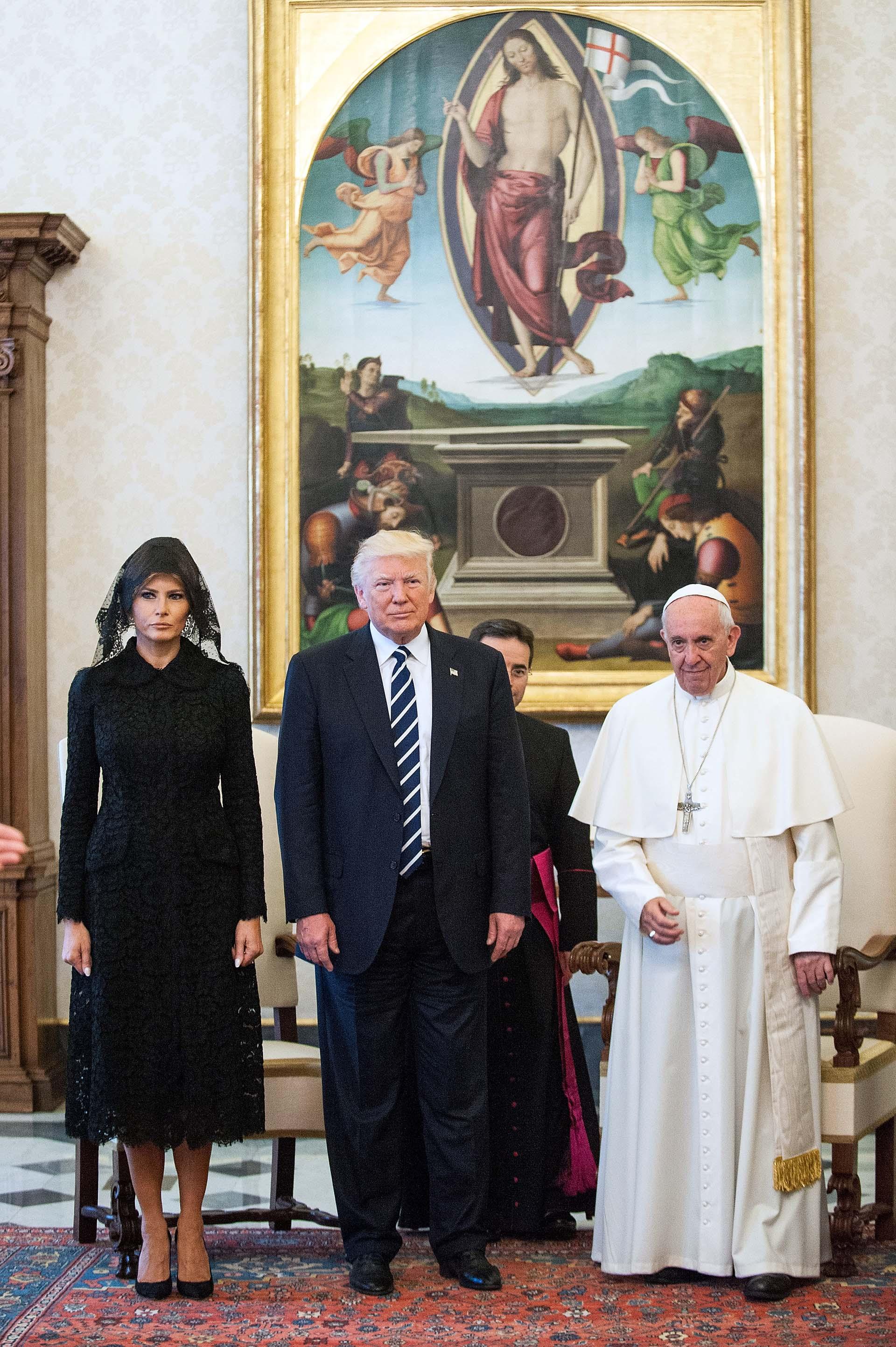 24/5/2017 El papa Francisco recibe a Donald Trump y su esposa en el Vaticano