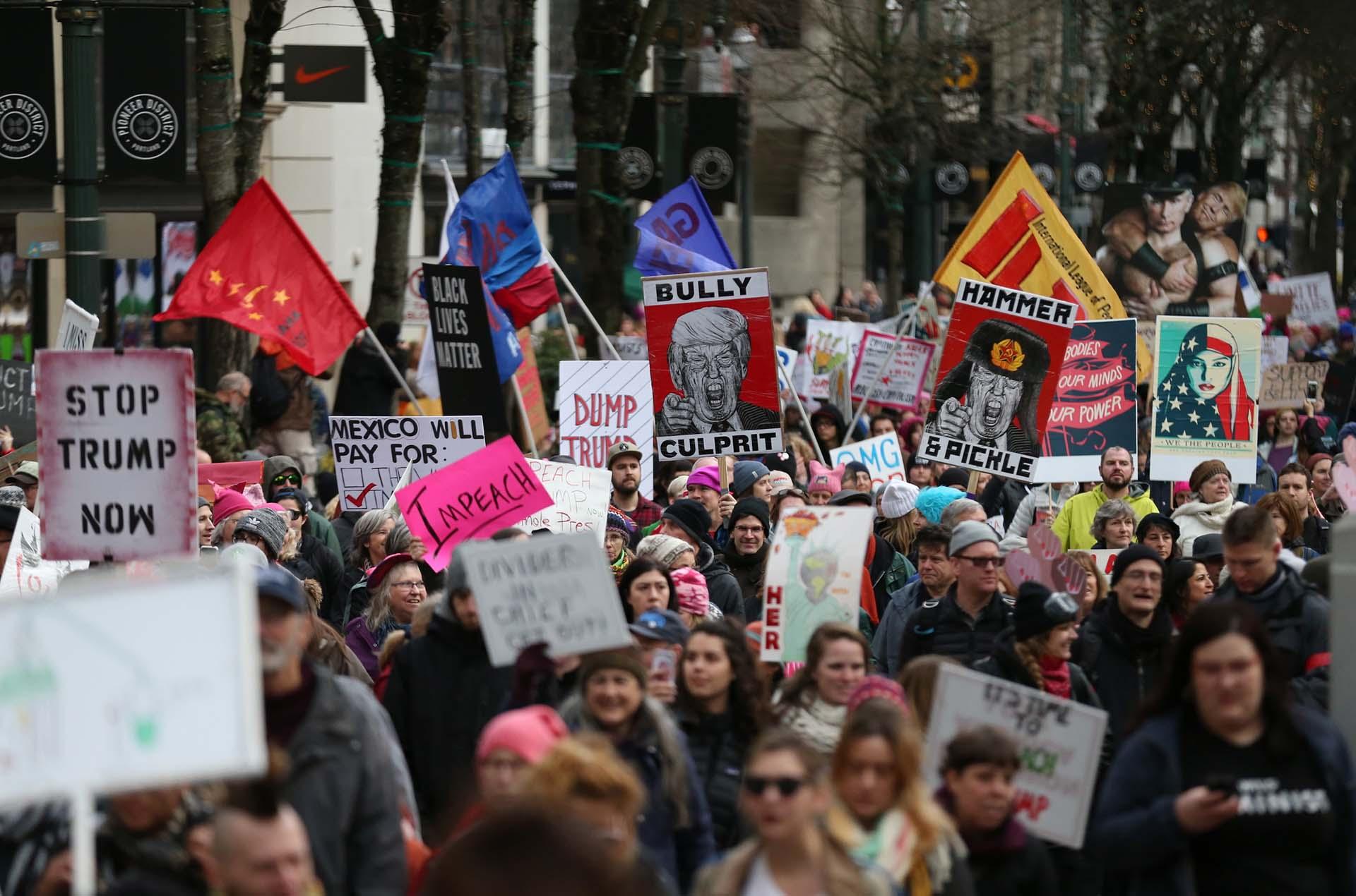 El sábado fue la primera jornada de protestas, en coincidencia con el primer aniversario de la presidencia de Donald Trump (AP)