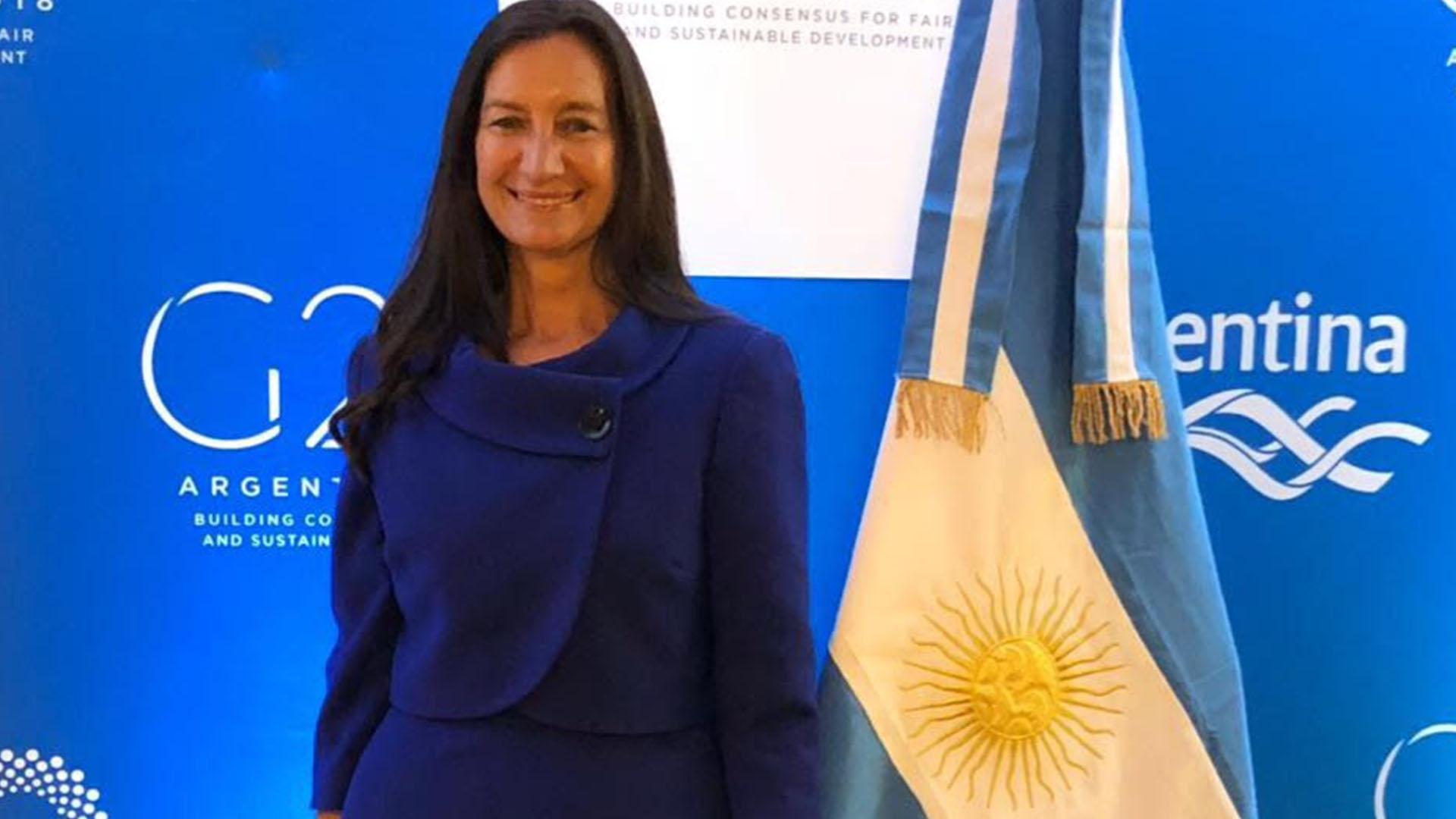 Andrea Grobocopatel, copresidente del W20, en la Casa Argentina en Davos